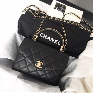 Chanel Flap bag with Top handle , calfskin.